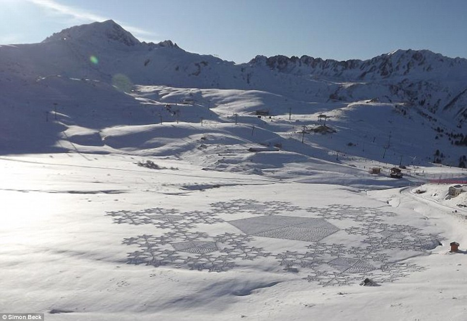 Snow going: One of Simon Beck's wintry 'crop circles' which he created at the French ski resort of Arc2000 with a lot of dedication, patience and energy