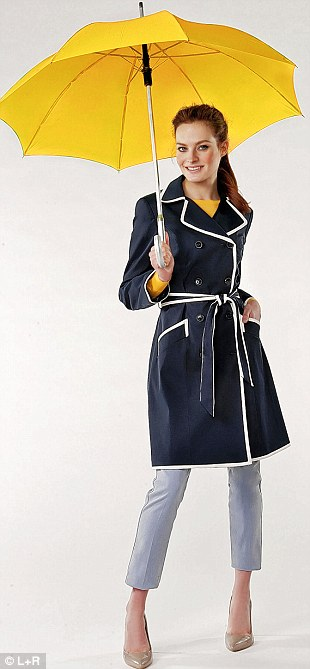 Navy trench £65, debenhams.com. Sweater £45, cosstores.com. Jeans £25, hm.com. Courts £25, newlook.com. Umbrella £10, Umbrella World at amazon.co.uk