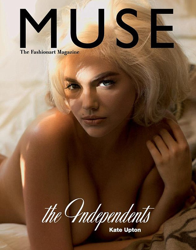 Kate Upton poses nude on the cover of Muse magazine, channelling the look of Marilyn Monroe