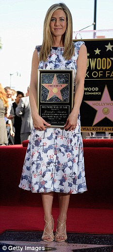 Star quality: Jennifer yesterday got a star on the Hollywood Walk of Fame