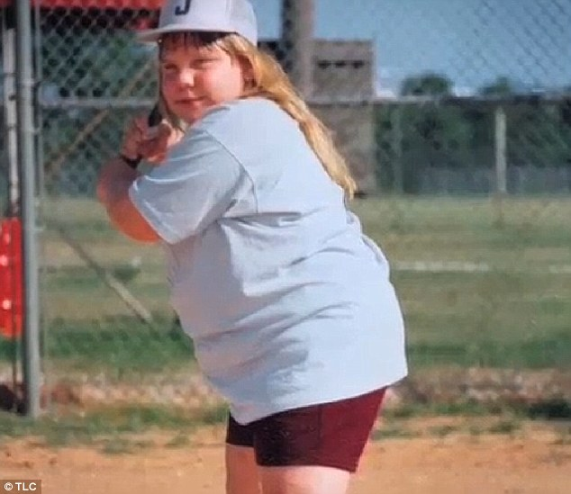 Taking a swing: Ashley had loved playing softball as a child but was forced to stop playing as her weight ballooned