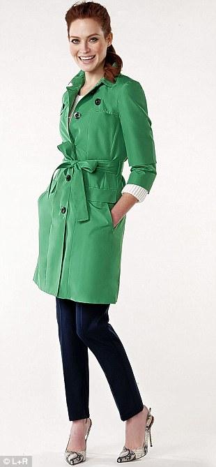 Trench £119, Hobbs at johnlewis.com. Navy trousers £20, zara.com. Jumper £19.99, hm.com. Shoes £75, riverisland.com