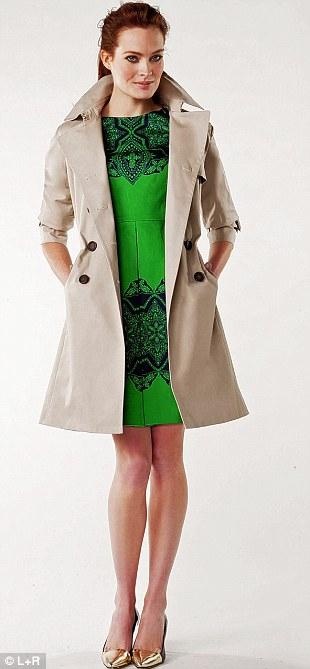 Trench £195, lkbennett.co.uk. Dress £65, oasisstores.com. Metallic toe courts £79.90, massimodutti.com