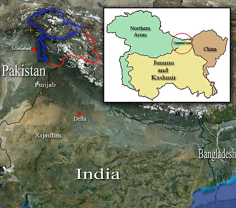 Pakistan occupied Kashmir can be seen marked in blue on this map