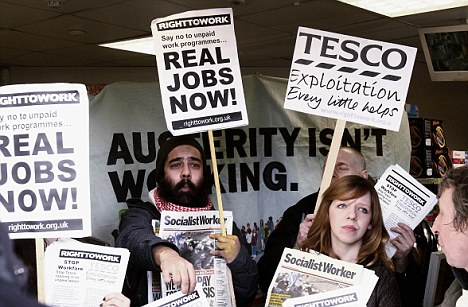 Hysterical: Campaigners protest against the Government's work experience scheme