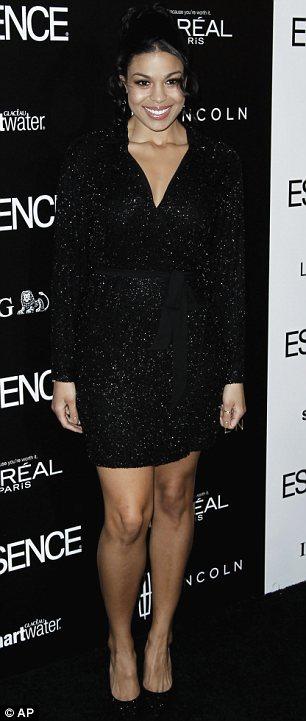 Party dresses: Singer Jordin Sparks (L) and actress Jennifer Beals opted for trusty black frocks