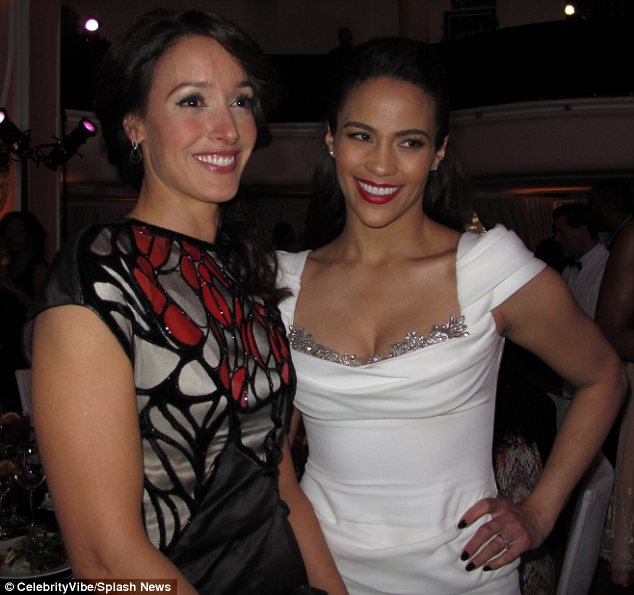 Famous friends: Jennifer Beals and Paula Patton posed together inside the luncheon