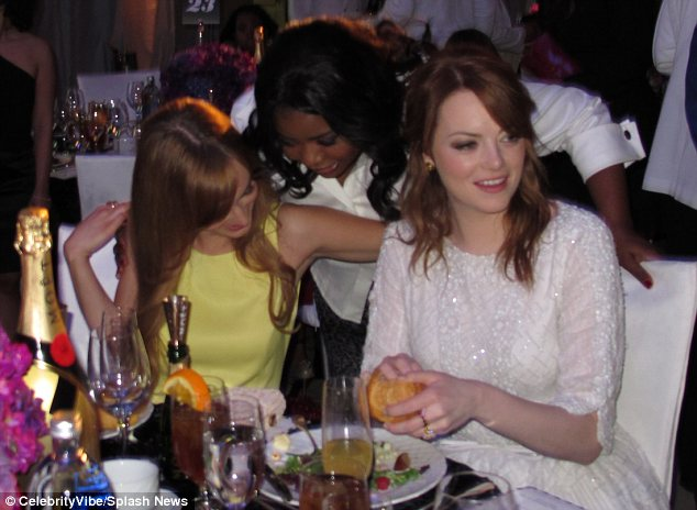 Girl talk: Octavia Spencer and Emma Stone were seen hanging out inside the event