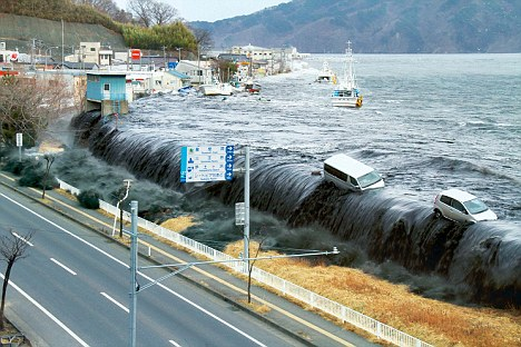 A fire broke out in Fukushima nuclear plant in Japan after a quake triggered a tsunami (pictured)