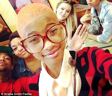 Blonde ambition: Willow Smith has dyed her buzz cut a shade of platinum and posted the picture on her Twitter account
