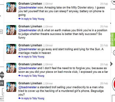 Insults: Graham Linehan, the writer behind hit show The IT Crowd, trades insults with Toby Young on Twitter