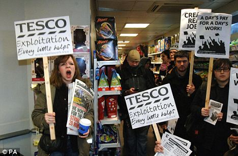 Militants: Right to Work campaigners occupy the Tesco Express store at Portcullis House, Westminster