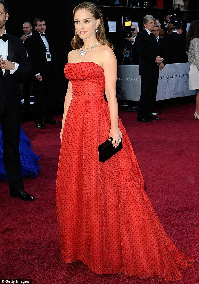 A winning look: Natalie Portman wears a red vintage polka dot Dior to the 2012 Oscars