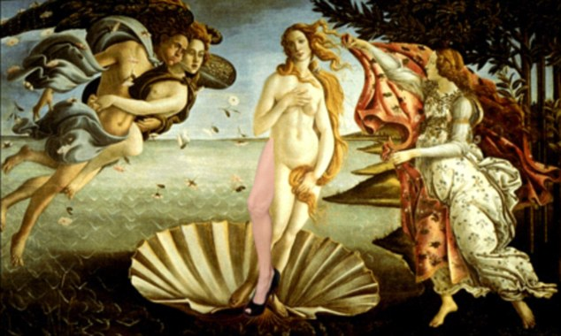 Look again: Even the famous Birth of Venus by Sandro Botticelli is treated to an extra leg