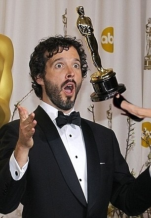 Leg's off my Oscar! Angelina's leg is after Flight of the Conchords' Bret McKenzie