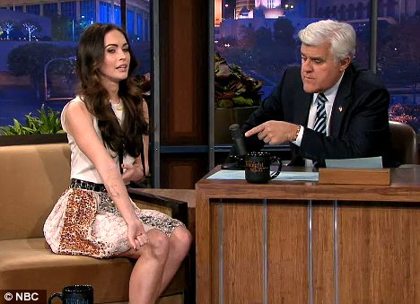 Leggy lady: Megan appeared on Monday night's The Tonight Show with Jay Leno