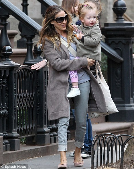 Mama Parker: SJP strolled around Manhattan with her twins Tabitha and Marion today
