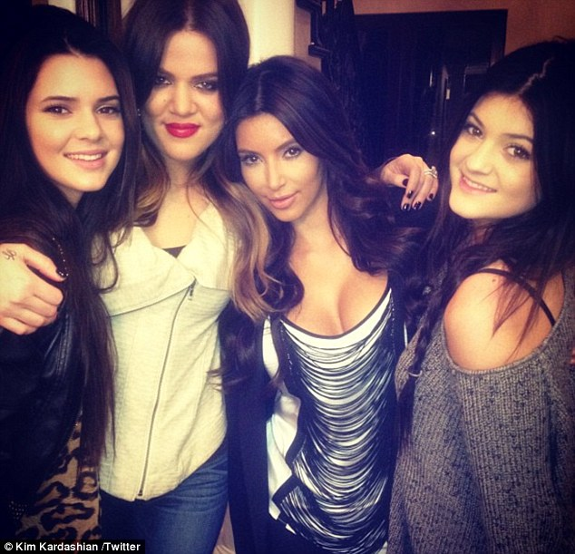 Family time: The night before, Kim shared a picture of a family dinner with sisters Kylie, Kendall and Khloe