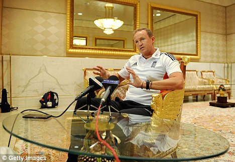 Making his point: England boss Andy Flower at the team hotel in Dubai on Tuesday