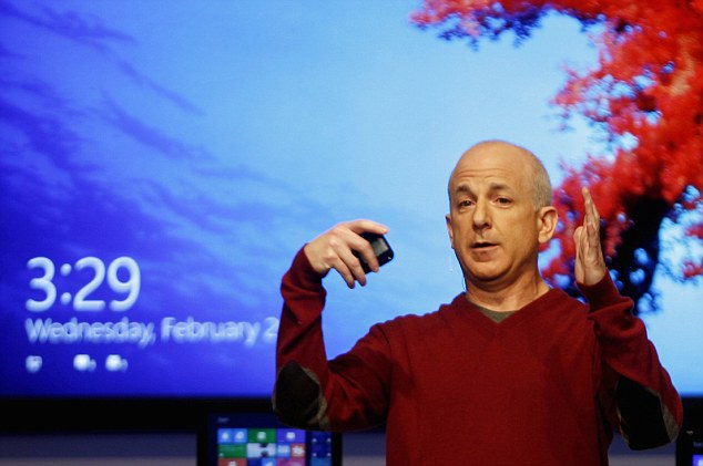 President of Windows and Windows Live Division Steven Sinofsky demonstrates new features of Windows 8 in Barcelona