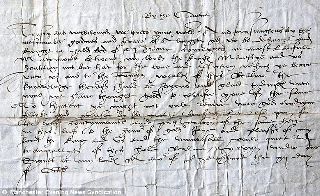 'Call to arms': The letter written in 1543  by the King to George Booth, asking him to raise troops to fight Scotland