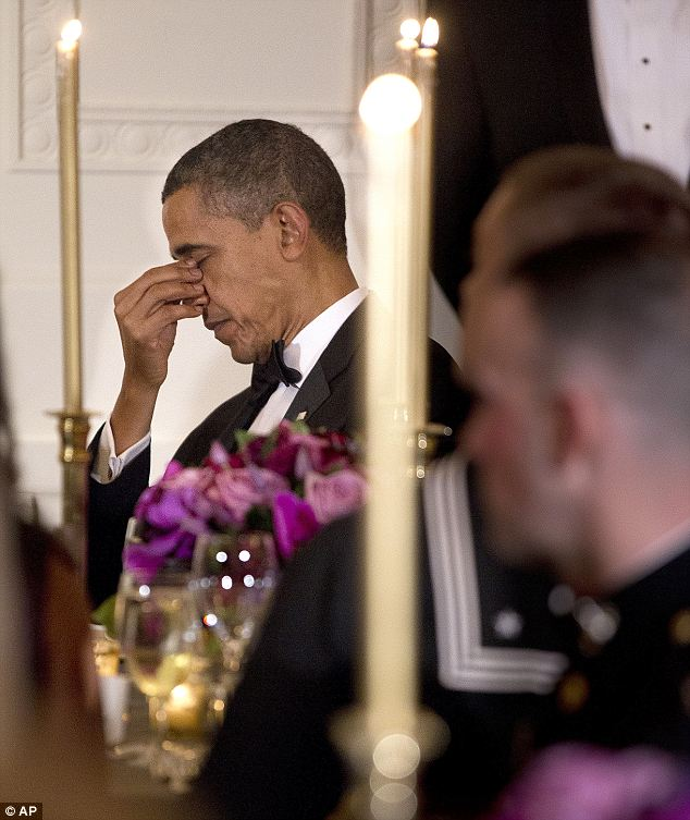 Tough talk: Mr Obama seemed exhausted after the speech, and was certainly not at his most friendly