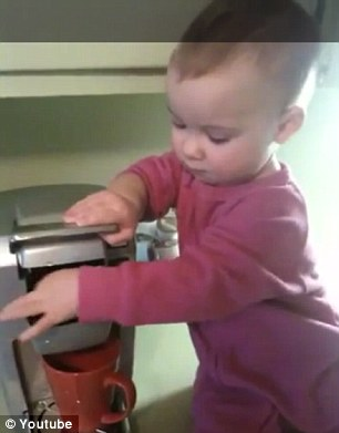 This baby barista shows how easy it is to make a cup of coffee for her mommy