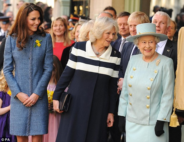 Queen Elizabeth II, the Duchess of Cornwall and the Duchess of Cambridge leave after a visit to Fortnum and Mason