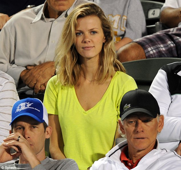 Model supporter: Brooklyn Decker was seen supporting her husband Andy Roddick in Florida yesterday