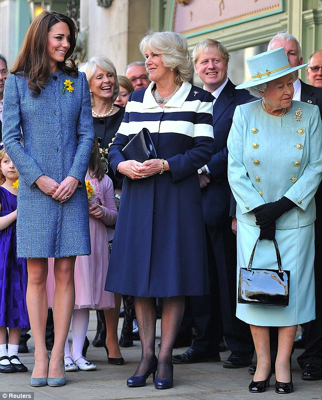 Changing face of royalty: Relaxed Kate, Camilla and the Queen this week, top, and The Queen, Queen Mother and Diana in 1983
