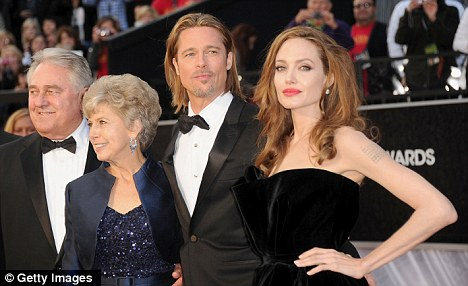 Family-oriented: Brad and Angelina attended the Oscars with Brad's parents William and Jane over the weekend
