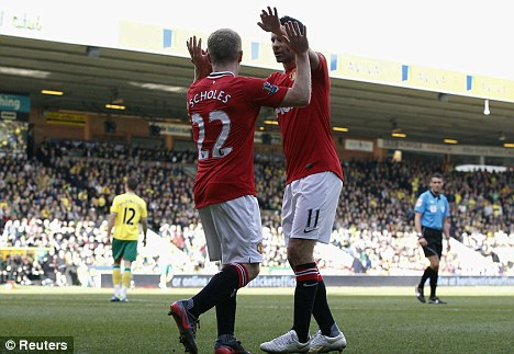 Old guard: Scholes and Giggs have spent their careers at Manchester United