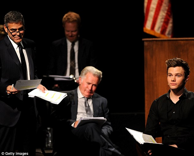Courtroom drama: Glee actor Chris Colfer joined Modern Family star Jesse Tyler Ferguson and the other actors on stage