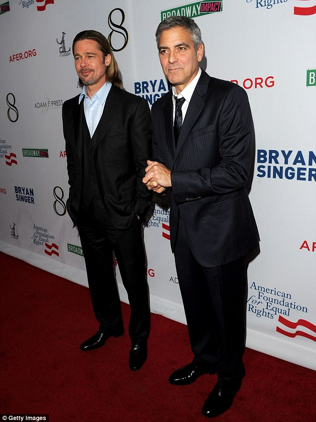 Adding their star power: George Clooney and Brad Pitt joined forces on Saturday night in Los Angeles for a play about California's ban on same-sex marriage
