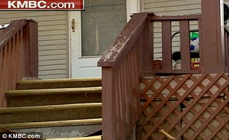 Attacked at home: The brutal assault happened here on the boy's front porch as he was arriving home from school