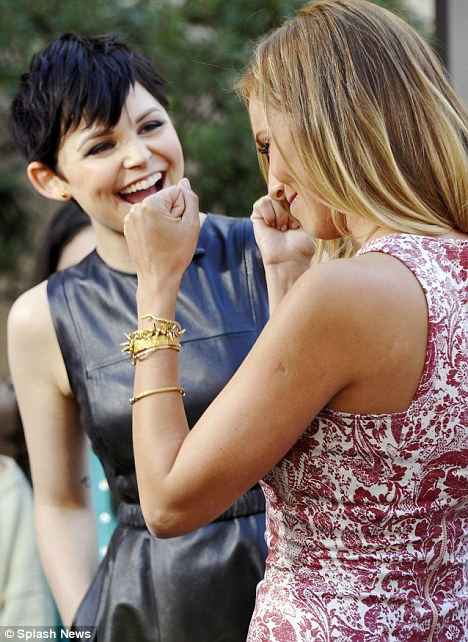 Sharing a laugh: Ginnifer and Extra host Renee Bargh discussed hit TV show Once Upon a Time during the interview