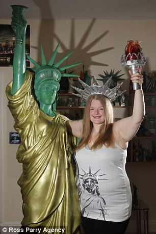 New flame: Amanda Whittaker has professed her love for the Statue of Liberty and even has a 6ft replica of her love in her home