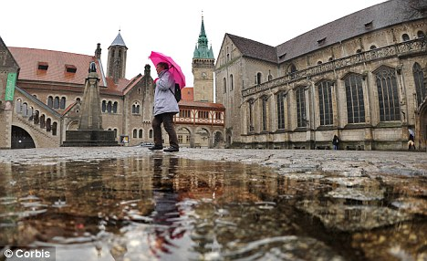 Lucky town: These days it's good fortune raining down on Braunschweig in Germany as a mystery donor leaves money around the town