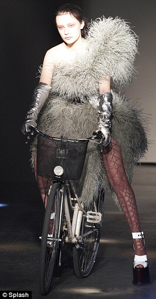 Vivienne Westwood sent a model down the runway on a bicycle in Paris