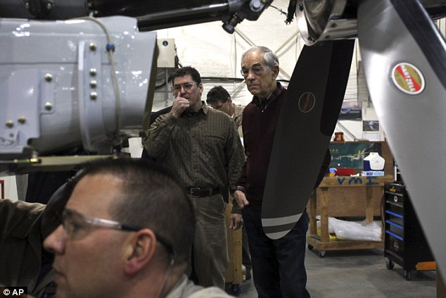 Falling behind: Ron Paul toured the Quest Aircraft Company in Sandpoint, Idaho on Monday. He failed to win North Dakota but still had a chance in Alaska
