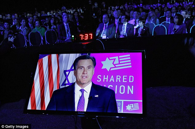 Participation: Staying just east of Washington in Ohio, Romney delivered his own remarks to the American Israel Policy Affairs Committee's via satellite
