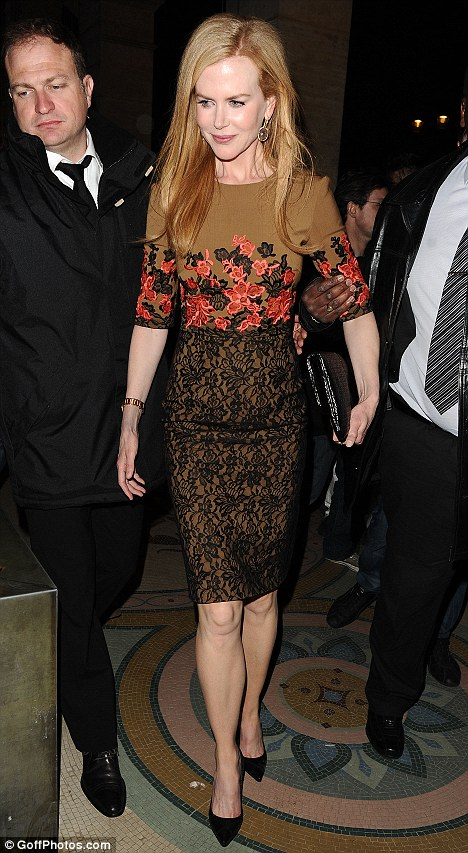 Chic: Nicole wore an Erdem ivy dress to a Tod's party to celebrate the new collection
