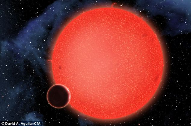 Wet, wet, wet: An artist's conception of GJ1214b, which is a watery super-Earth orbiting a red dwarf star 40 light-years away