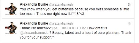 Loved up: Alexandra tweeted today that someone was giving her 'butterflies'