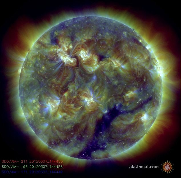 This colour-coded image combines observations made by Nasa in several extreme ultraviolet wavelengths, highlighting a bright X-class flare toward the upper left on March 6