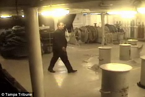 Caught: Surveillance footage shows Ehlert in an off-limits area under the ship