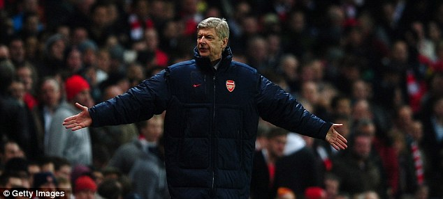 Charged: Arsene Wenger showed his fury after Arsenal's 3-0 win over AC Milan