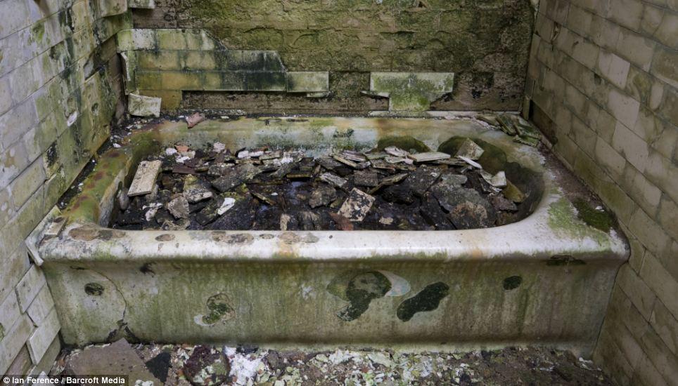 A bathtub in communal bathroom photographed in Ellis Island hospital in New York City