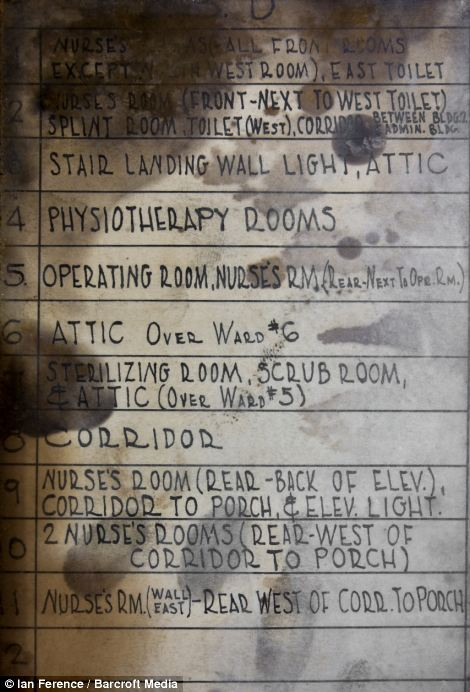 A view of the mildew-stained fuse map in fuse box in 1908 hospital annex in Ellis Island hospital in New York City
