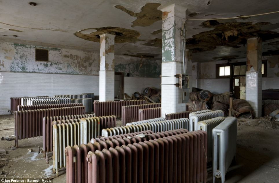 Radiators from building which is removed to first-floor dormitory photographed in Ellis Island hospital in New York City